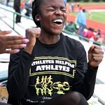 Brenau's Olamide Sokunbi reacts after hearing she took first place in the 100 meter dash.