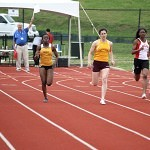 Brenau's Olamide Sokunbi, second from left, pulled out a first place finish in the 200 meter dash.