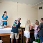 From left, Katelyn Brown and her mother and father, Pete and Sandra, of Hartwell, help move in Katelyn's roommate Cassidy Collier, of Lincolnton Wednesday, Aug. 21.