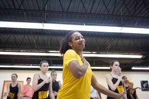 Paris Hawkins, a Brenau University dance major, performs along with a group of high school dancers in attendance at this year's Day of Dance event.