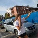 First year student Madison Kosater begins to unload her belongings during move-in day on Brenau's Gainesville campus