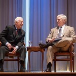 Former President Jimmy Carter, left, and Brenau University President Ed Schrader on stage at the Carter Center in Atlanta.